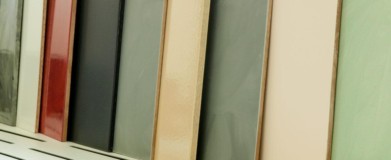 Vystavené vzorky litých podlah na naší vprodejně v Opavě